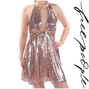 NWT Free People Rose Gold Sequin Cutout Halter Drs